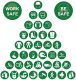Pyramid Health and Safety Green Icon collection Royalty Free Stock Image