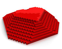 Pyramid with heart on top made of red cubic pixels stock illustration