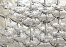 Pyramid holiday of champagne glasses Stock Images