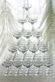 Pyramid holiday of champagne glasses Royalty Free Stock Photography