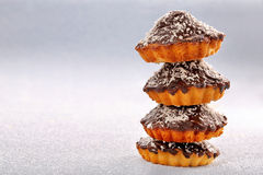 Pyramid of homemade chocolate cakes and space for text Royalty Free Stock Image