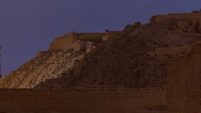 Pyramid of Huaca Pucllana day to night timelapse, pre Inca culture ceremonial building ruins in Lima, Peru