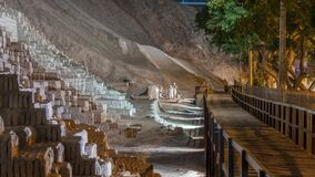 Pyramid of Huaca Pucllana night timelapse, pre Inca culture ceremonial building ruins in Lima, Peru
