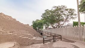 Pyramid of Huaca Pucllana timelapse hyperlapse, pre Inca culture ceremonial building ruins in Lima, Peru