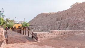 Pyramid of Huaca Pucllana timelapse, pre Inca culture ceremonial building ruins in Lima, Peru