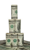 Pyramid of hundred dollar bills. On white background Royalty Free Stock Photography