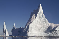 Pyramid iceberg with two peaks in Antarctic Stock Images