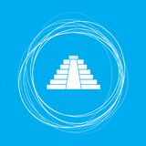 Pyramid icon on a blue background with abstract circles around and place for your text. Illustration Royalty Free Stock Images