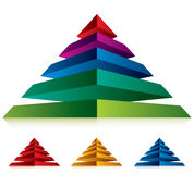 Pyramid icon with five layers. Stock Images
