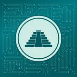 Pyramid icon on a green background, with arrows in different directions. It appears on the electronic board. Illustration stock illustration