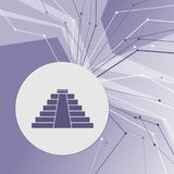 Pyramid icon on purple abstract modern background. The lines in all directions. With room for your advertising. Illustration Stock Photography