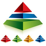 Pyramid icon with three layers. Stock Image