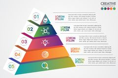 Pyramid infographic colorful template with 5 steps or options concept.Each part contains unique number, icon and space for own stock illustration