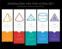 Pyramid infographics design icon vector. 5 vector icons such as Pyramid, Cone, Tetrahedron, Cylinder, Triangle for infographic, layout, annual report, pixel Stock Photo