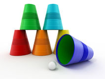 Pyramid from inverted plastic cups Stock Photography