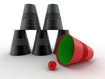 Pyramid from inverted  plastic cups Stock Images