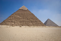 The Pyramid of Khafrae. Is the second largest of the Ancient Egyptian Pyramids of Giza and the tomb of the fourth-dynasty pharaoh Khafre (Chephren in Greek) Stock Image