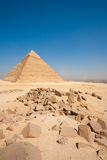 Pyramid Khafre Cairo Cityscape Boulders Vertical Royalty Free Stock Photography