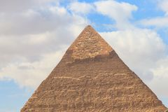 Pyramid of Khafre or of Chephren is second-tallest and second-largest of the Ancient Egyptian Pyramids of Giza. Pyramid of Khafre or of Chephren is the second stock photography