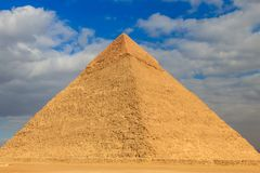 Pyramid of Khafre or of Chephren is second-tallest and second-largest of the Ancient Egyptian Pyramids of Giza. Pyramid of Khafre or of Chephren is the second stock photo