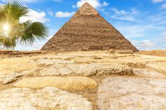 The Pyramid of Khafre Chephren in the sunny desert of Giza, Egypt.  royalty free stock photography