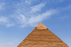Pyramid of Khafre in Giza. Against blue sky, Egypt Royalty Free Stock Photos