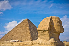 Pyramid of Khafre and Great Sphinx in Giza, Egypt Stock Photography