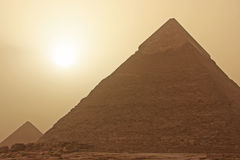 Pyramid of Khafre in a sand storm, Cairo Royalty Free Stock Photo