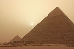 Pyramid of Khafre in a sand storm, Cairo Royalty Free Stock Photography