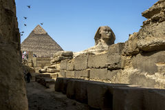 The Pyramid of Khafre and the Sphinx on the Giza Plateau in Cairo in Egypt. Royalty Free Stock Photo