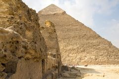 Pyramid of Khufu. Cairo, Egypt – November 12, 2018: photo for Pyramid of Khufu in the Pyramids of Giza in Cairo city capital of Egypt.And some stock images