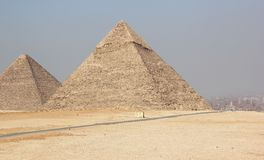 The Pyramid of Khufu (Cheops) and Khafre. Stock Photo