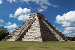 Pyramid of Kukulcan. (El Castillo) at Chichen Itza, Mexico on a sunny winter day stock photos