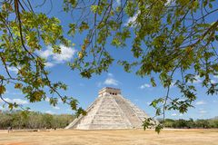 Pyramid of Kukulcan at Chichen Itza Mexico. April 24, 2014 Chichen Itza, Mexico: the pyramid structure of Kukulcan at Chichen Itza archaeological site Royalty Free Stock Photography