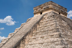 The pyramid of Kukulcan closeup Chichen Itza Royalty Free Stock Image