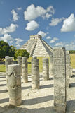The Pyramid of Kukulkan, (also known as El Castillo), a Mayan ruin, as seen from the Thousand Columns (foreground), Chichen Itza,  Royalty Free Stock Images