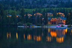 Pyramid Lake Cabins. At dusk royalty free stock images
