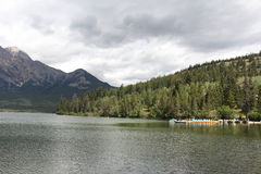 Pyramid lake (Canadian Rockies) Stock Image
