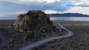 Aerial Drone Shot of Pyramid Lake in Northern Nevada