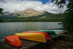 Pyramid Lake in Jasper National Park Stock Photography