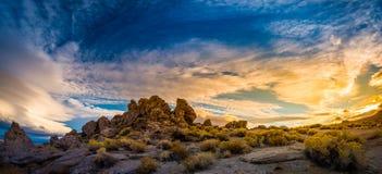 Pyramid Lake Nevada Tufas at Sunset Panorama Royalty Free Stock Photo