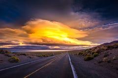 Pyramid Lake Road 446 to Nixon Nevada at Sunset Royalty Free Stock Image