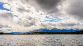 Pyramid Lake With The Whistlers Mountain Stock Photos
