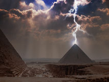 Pyramid Lightning. Lightning striking the Great Pyramid of Giza in Egypt Royalty Free Stock Photography