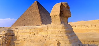 Pyramid located at Giza and the Sphinx.  Panorama Royalty Free Stock Photo