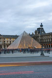 Pyramid of Louvre in the evening Royalty Free Stock Photo