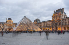 Pyramid of Louvre in the evening Stock Image
