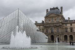The pyramid of the Louvre Stock Photos