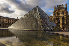 Pyramid Louvre museum courtyard Paris Royalty Free Stock Images