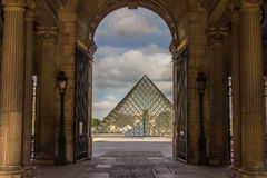 Pyramid Louvre museum courtyard Paris France Stock Image